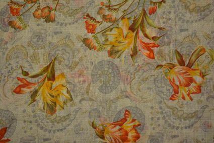 Silver Grey Floral Kota Doria Fabric