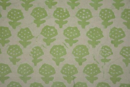 Green Khari Cotton Block Printed Fabric