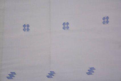 White And Blue Jamdani Cotton Fabric Online