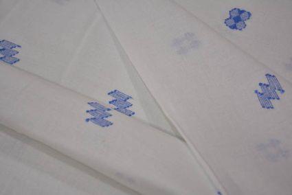 WHITE AND BLUE JAMDANI COTTON FABRIC ONLINE-HF2709