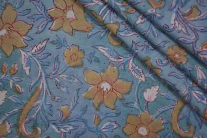 YELLOW FLORAL BLOCK PRINTED COTTON FABRIC -HF4720