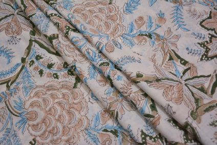 WHITE FLORAL HAND BLOCK PRINTED COTTON FABRIC -HF4721
