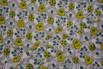 WHITE FLORAL HAND BLOCK PRINTED COTTON FABRIC -HF4699