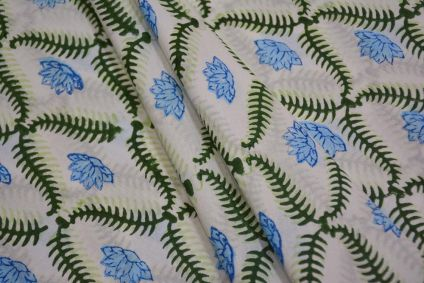 GREEN FLORAL HAND BLOCK PRINTED COTTON FABRIC -HF4694