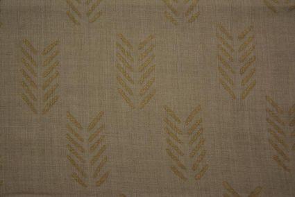 Cornstalk Brown And Gold Block Printed Pashmina Wool Fabric