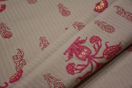 PINK GREY FLORAL PRINT STRIPED COTTON FABRIC-HF4681