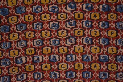 Numeric Red  Hand Block Printed Kalamkari Fabric
