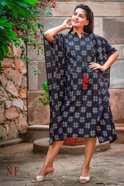 BLACK AND WHITE BLOCK PRINT KAFTAN DRESS-NVK41