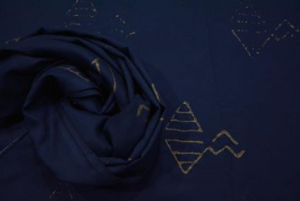 NAVY BLUE AND GOLDEN PRINT RAYON FABRIC-NVRF66