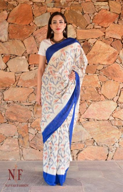 BLUE AND WHITE IKAT SAREES-NVCBS56