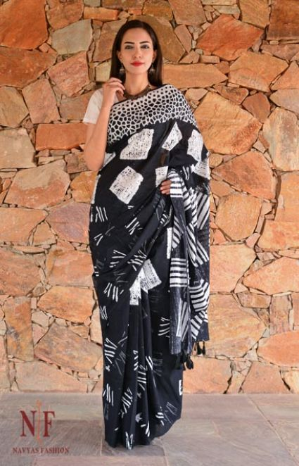 BLACK AND WHITE BLOCK PRINTED COTTON SAREES-NVCBS50