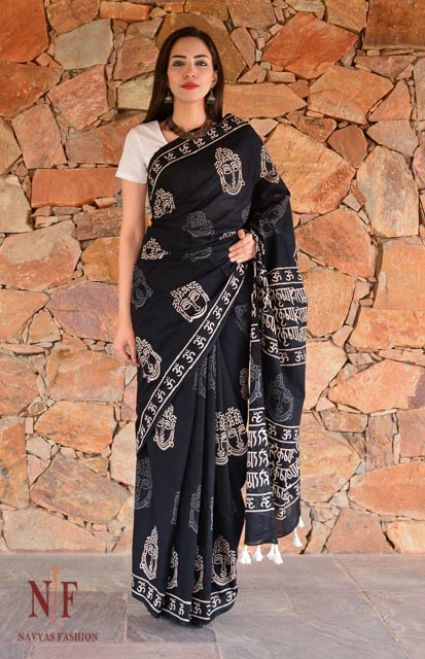 BLACK AND WHITE BLOCK PRINTED COTTON SAREES-NVCBS49