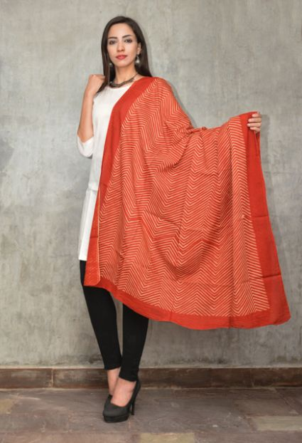 Bagru Red Block Printed Cotton Scarf