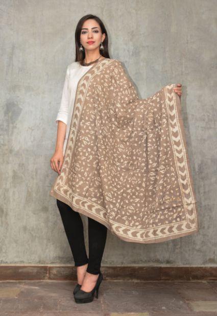 Kashish Grey Block Printed Cotton Scarf