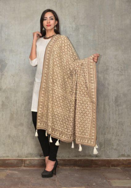 Kashish Grey And White Block Printed Cotton Scarf