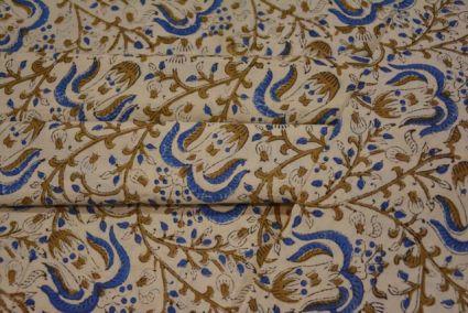 MUSTARD AND BLUE BLOCK PRINTED KALAMKARI FABRIC-HF1458