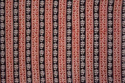 Red Black Bagh Print Cotton Fabric