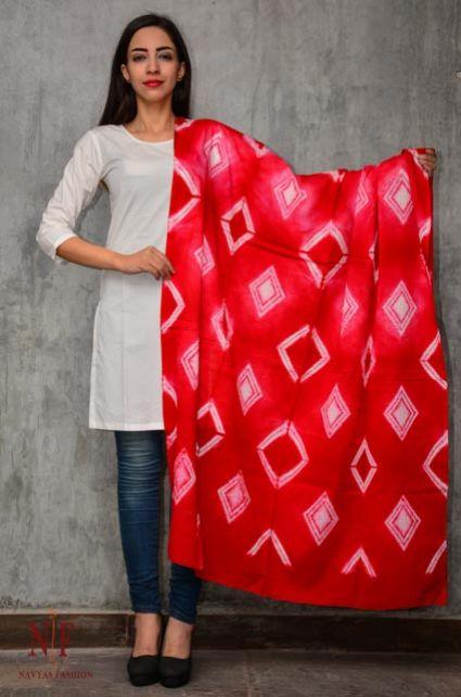 Red And White Shibori Block Printed Cotton Scarf