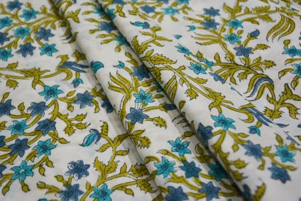 WHITE BASE FLORAL COTTON FABRIC-HF4726