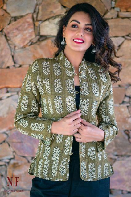Bagru Green Block Printed Reversible Cotton Quilted Jacket- NVQJ172
