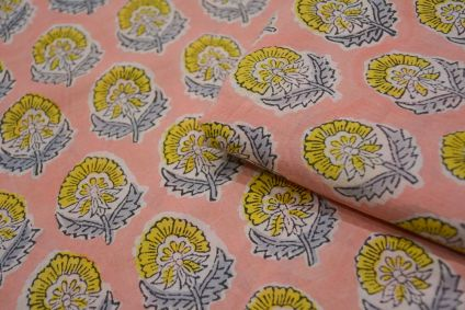 Peach Floral Hand Block Printed Cotton Fabric