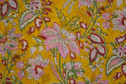 Yellow Floral Hand Block Printed Mulmul Cotton Fabric