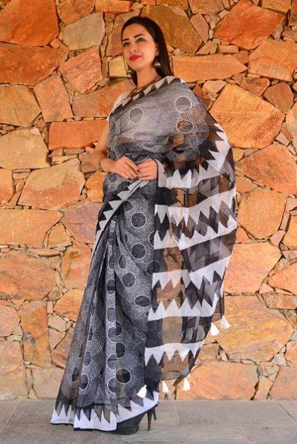 BLACK AND WHITE BLOCK PRINTED COTTON KOTA DORIA SAREE-NVCBS84