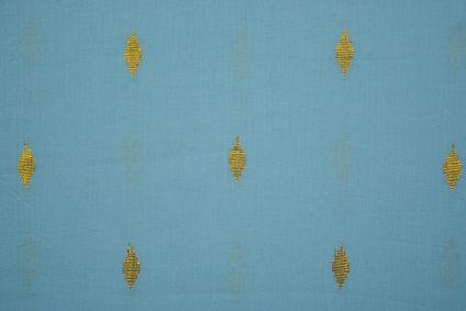 Blue Golden Zari Buti Cotton Fabric