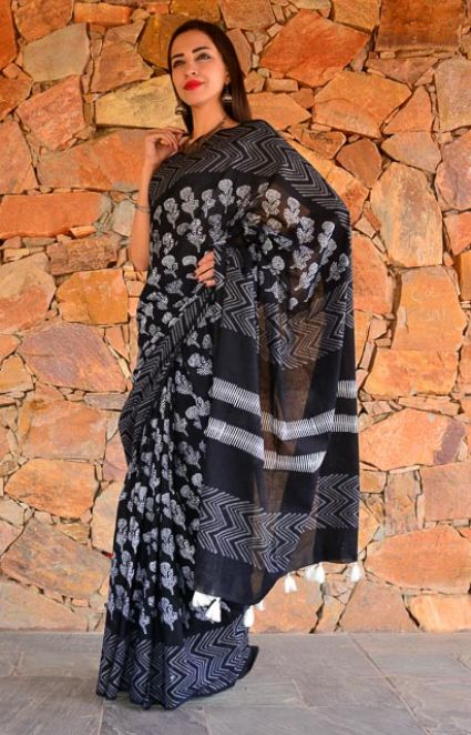 BLACK AND WHITE BLOCK PRINTED COTTON SAREES-NVCBS67