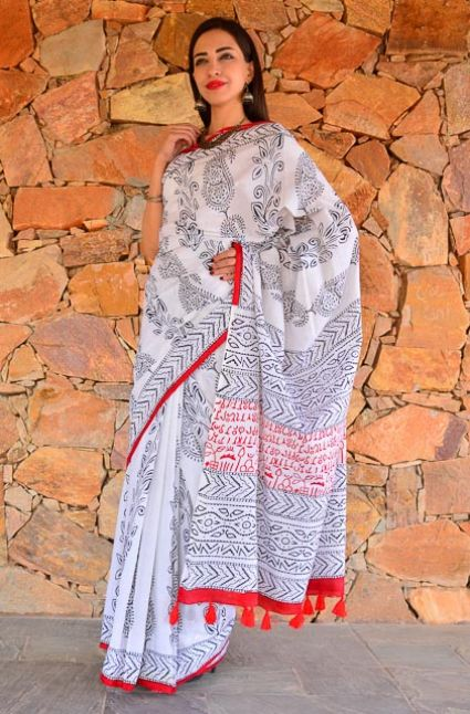 BLACK AND WHITE BLOCK PRINTED COTTON SAREES-NVCBS81