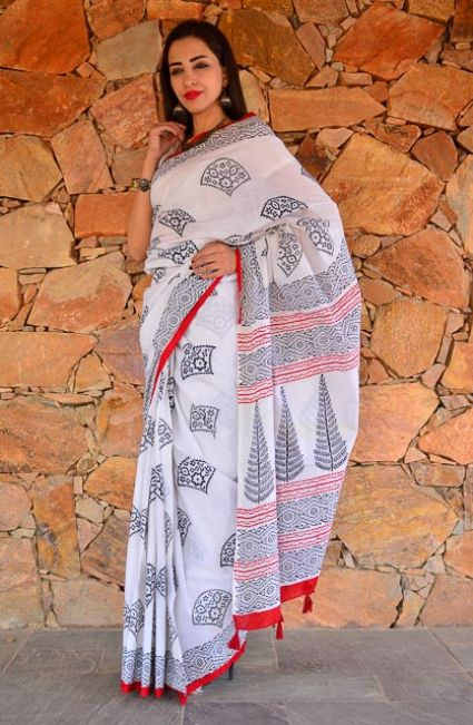 BLACK AND WHITE BLOCK PRINTED COTTON SAREES-NVCBS82