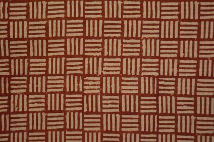 Bagru Red Square Hand Block Printed Cotton Fabric