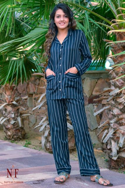 NAVY BLUE AND WHITE STRIPED COTTON MODAL NIGHT SUIT-NS58
