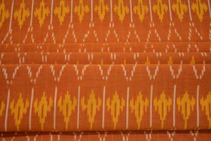 ORANGE YELLOW HANDLOOM FINE IKAT FABRIC-HF1591