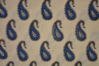 Blue And Black Paisley Block Printed Cotton Fabric