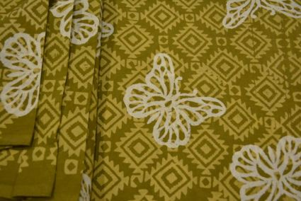 GREEN AND WHITE BUTTERFLY BLOCK PRINTED COTTON FABRIC-HF3123
