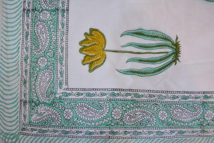 Floral Printed Pareo Sarong In Sea Green And White Color