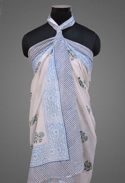 FLORAL PRINTED PAREO SARONG IN SKY BLUE COLOR- NPS153