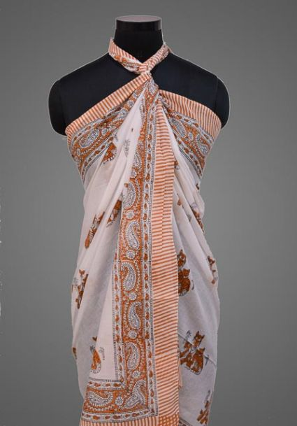 FLORAL PRINTED PAREO SARONG IN SKY BLUE COLOR- NPS154