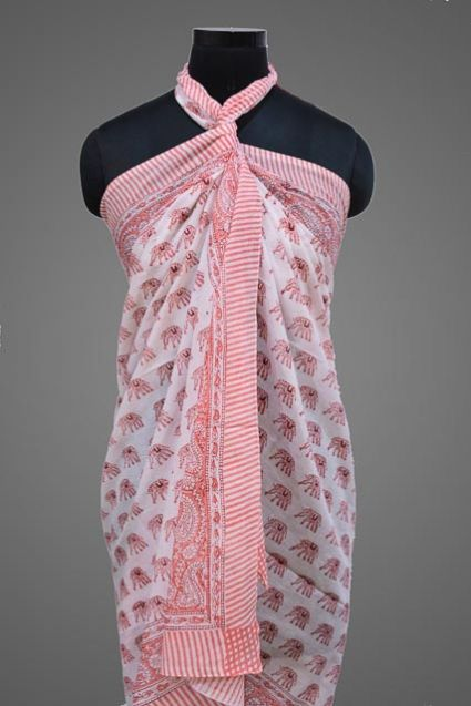 FLORAL PRINTED PAREO SARONG IN PINK COLOR- NPS158