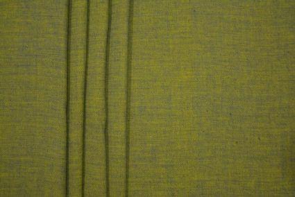 APPLE GREEN YELLOW HERRING BONE DOUBLE TONE HANDLOOM COTTON FABRIC-HF3136