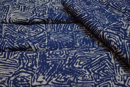 BLUE PRINTED INDIAN COTTON FABRIC-HF1613