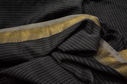 Dark Grey Striped Zari Border Maheshwari Silk Handloom Fabric