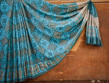 BLUE ANG GREY BAGRU PRINT COTTON SAREES-NVCBS107