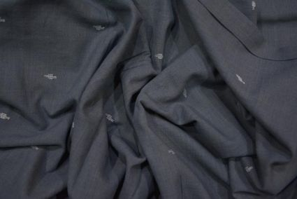 Dark Gull Grey Jamdani Cotton Fabric Online