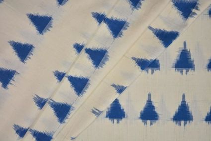 BLUE AND WHITE DOUBLE IKAT FABRIC-HF3316