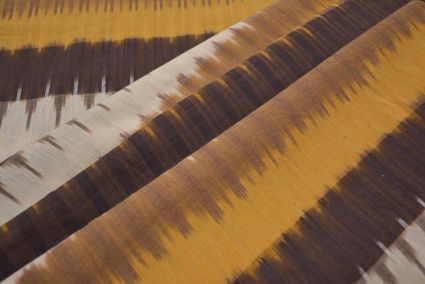 BROWN AND WHITE FINE IKAT FABRIC BY THE YARD-HF3298