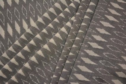 GREY AND WHITE FINE IKAT FABRIC BY THE YARD-HF3307