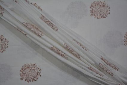 WHITE AND BROWN BLOCK PRINT PURE LINEN FABRIC - HF3403