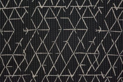 Black Triangles Kantha Cotton Fabric